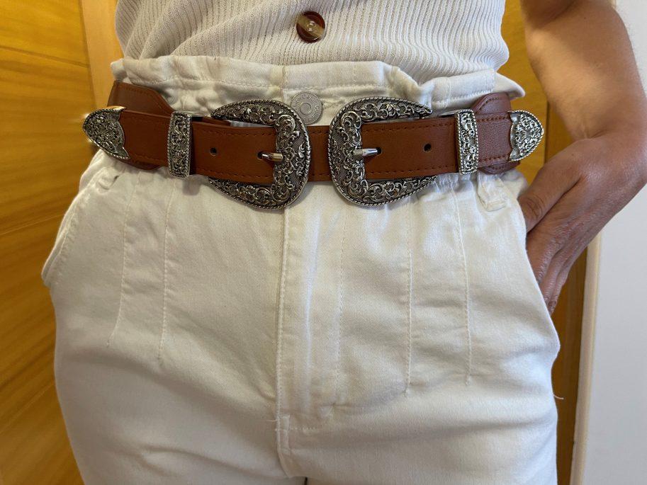 Cinturón elástico doble hebilla camel
