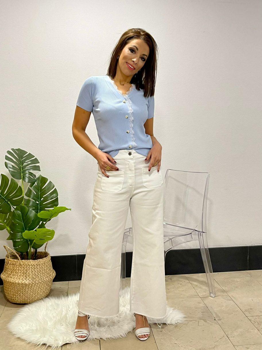 Pantalón Pata de elefante bolsillos delanteros Blanco