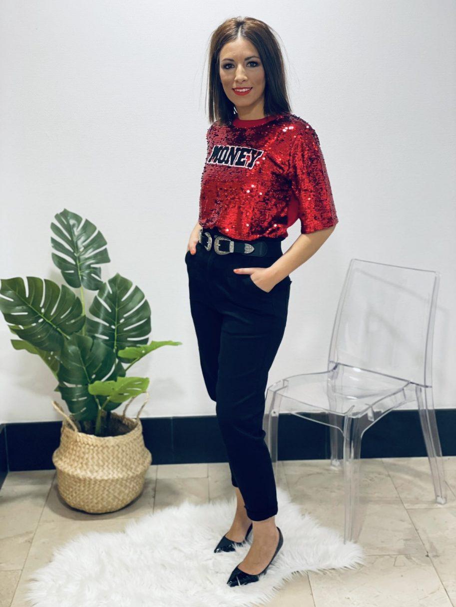 "Camiseta punto lentejuelas ""MONEY"" roja"