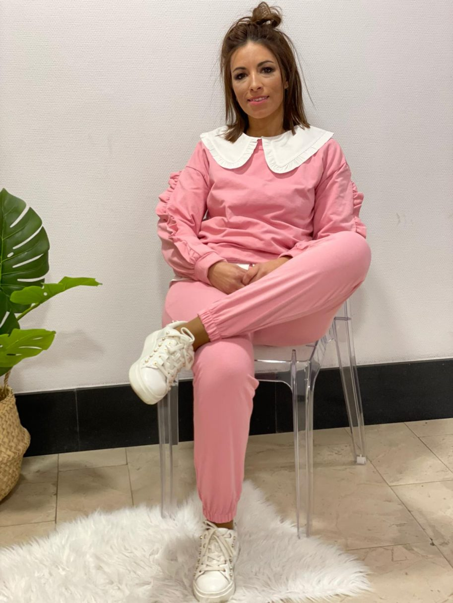 Chándal volantes manga rosa