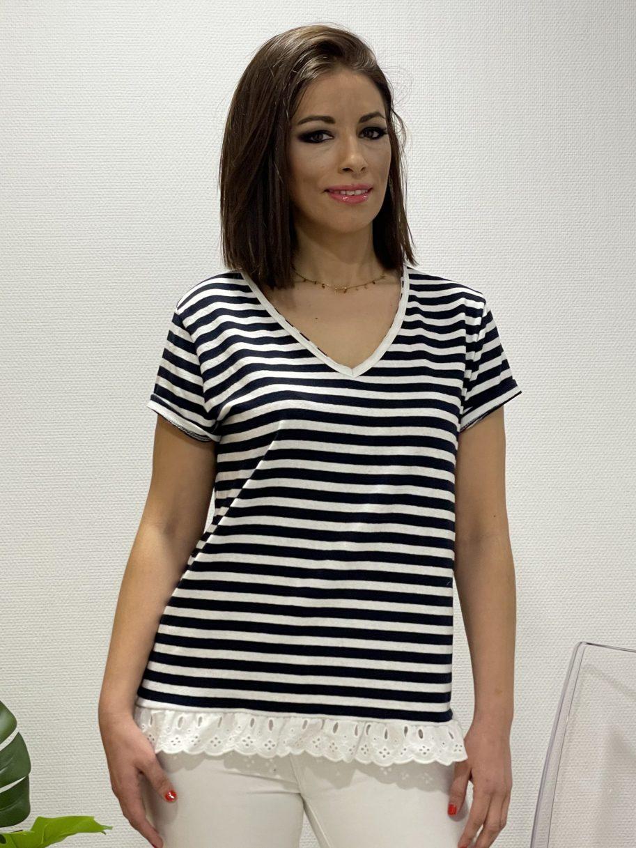 Camiseta rayas bajo con puntilla azul marino