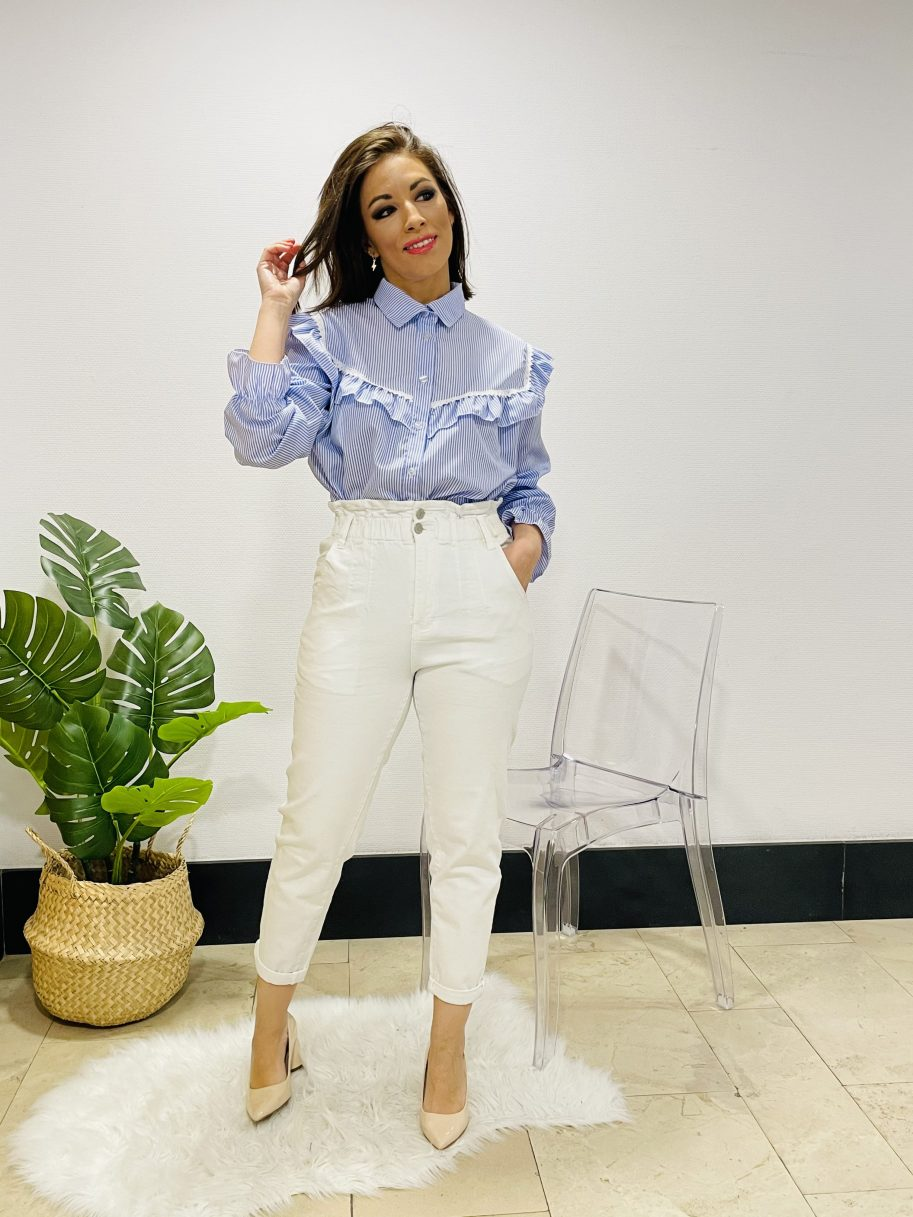 Camisa rayas azul y blanca volantes