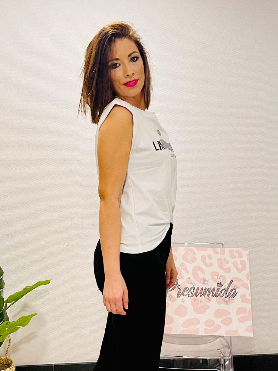 """Camiseta Hombreras """"Limit Edition"""" Blanca Oro"""