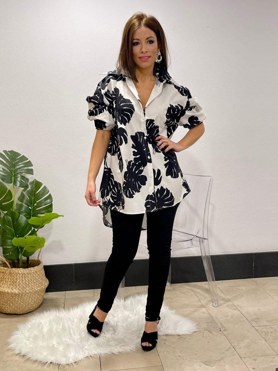 Camisa Negra larga de flores manga farol