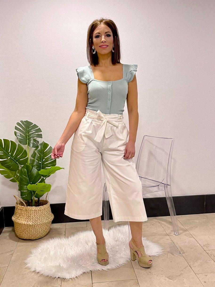 Pantalón Blanco Palazzo cinturón