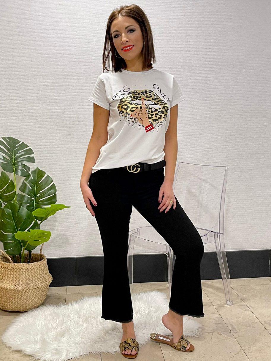 """Camiseta """"Be quiet"""" labio leopardo"""