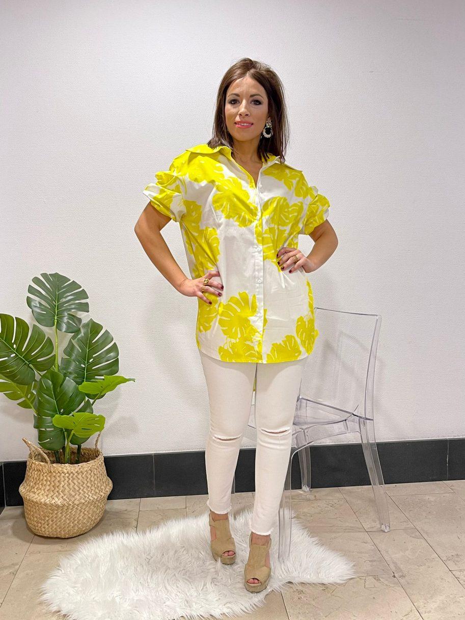 Camisa Amarilla larga de flores manga farol