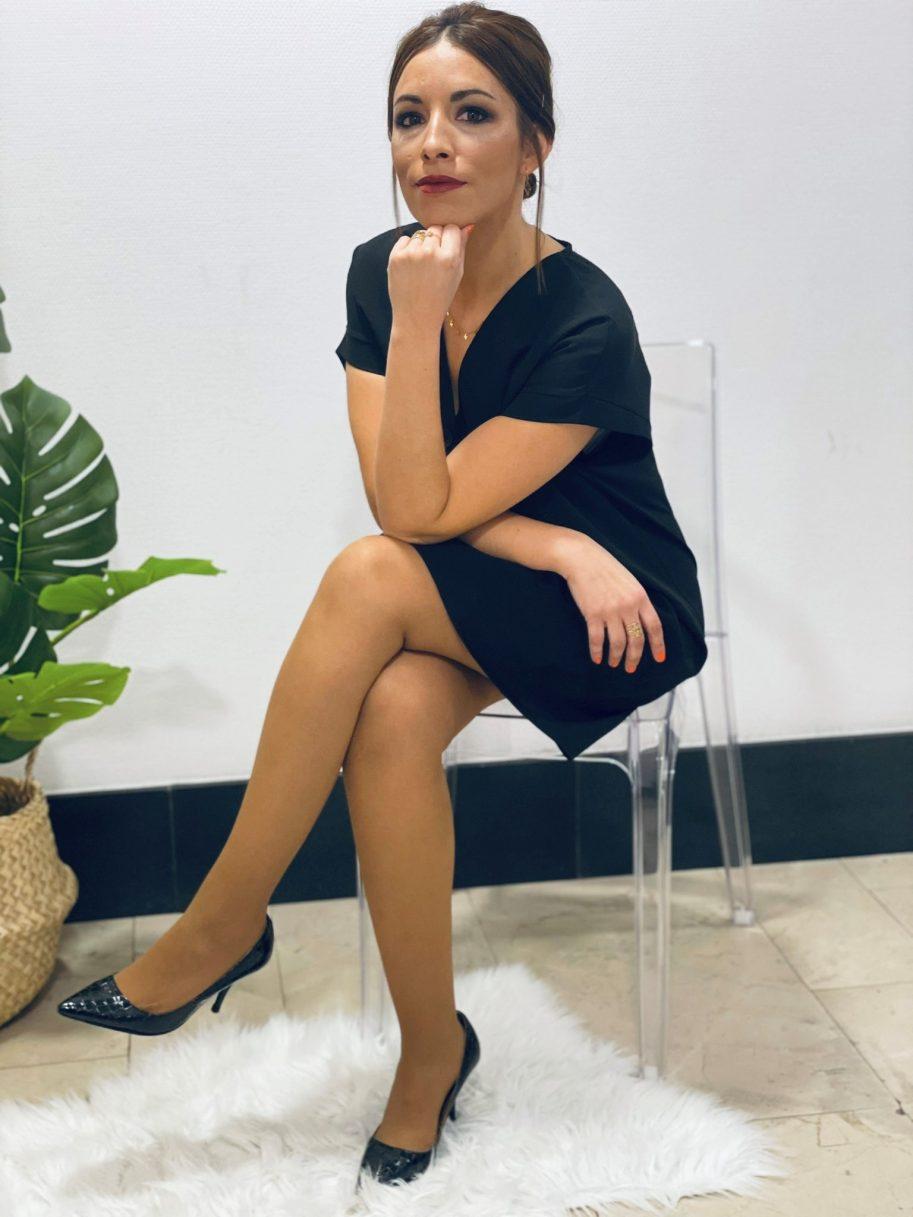 Vestido Liso Botones Negro
