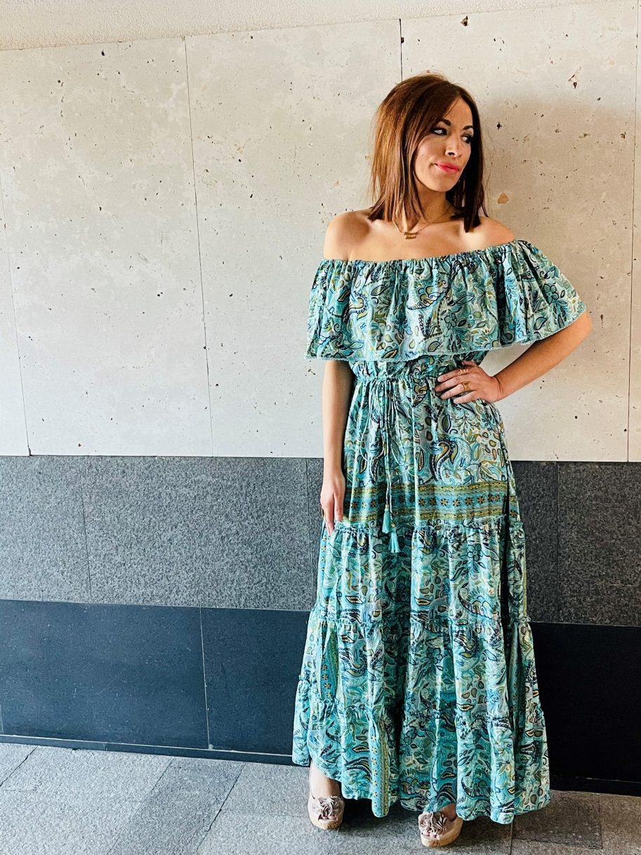 Vestido de Seda Palabra de Honor Verde