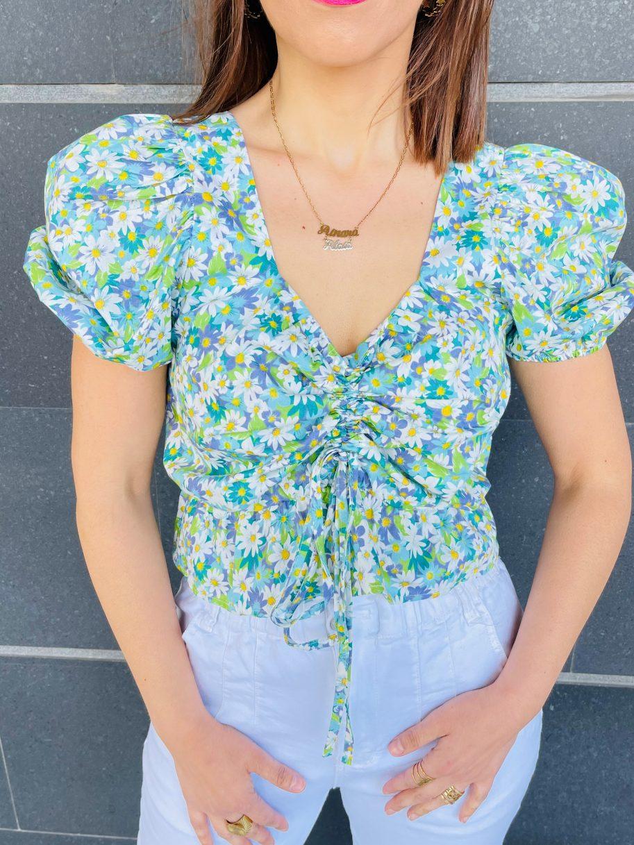 Blusa Estampada de Flores y Manga Farol Blanca