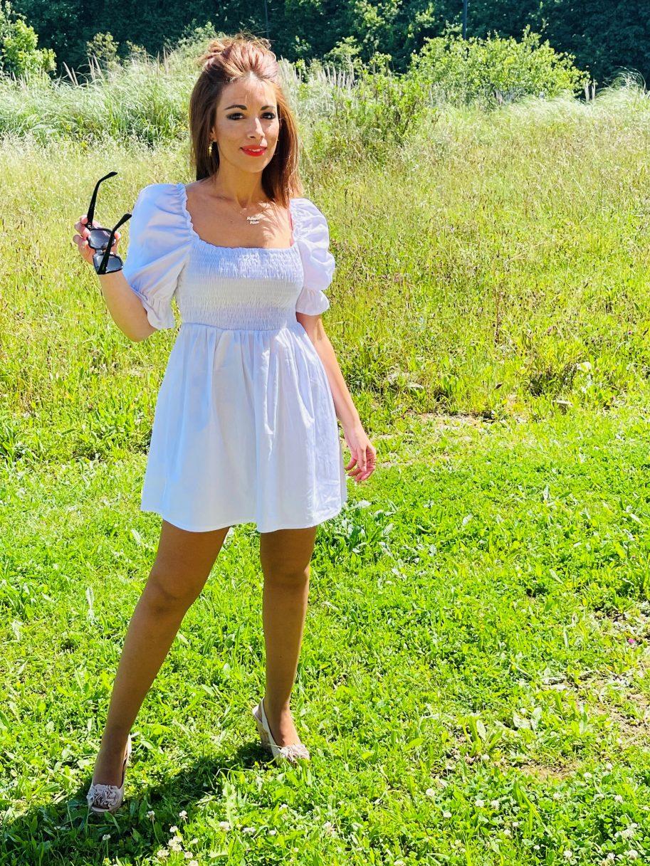 Vestido Nido de Abeja y Manga Farol Blanco