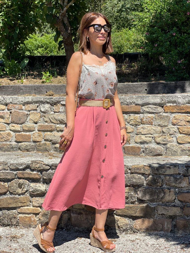 Falda Midi Botones Rosa Caldera