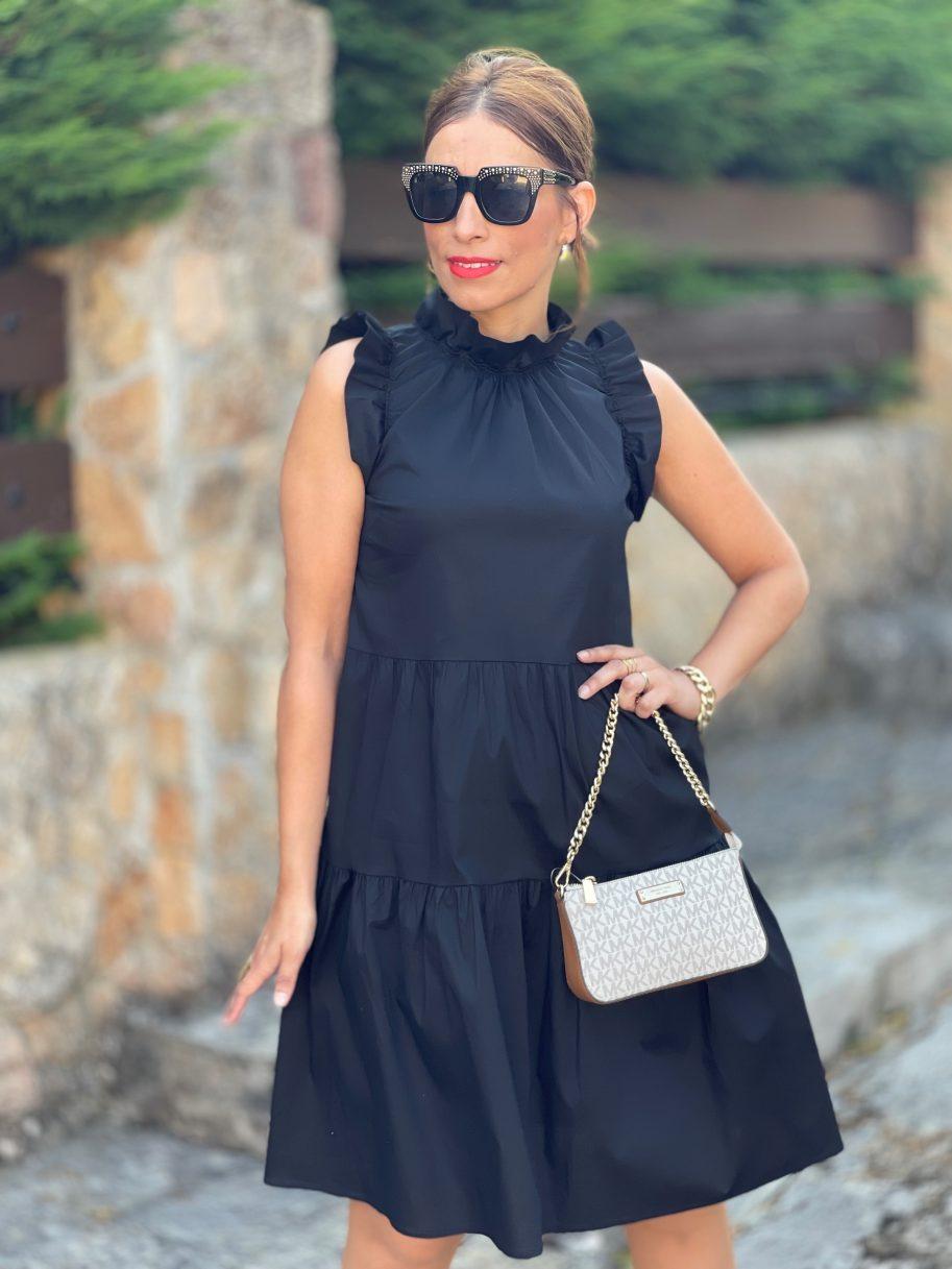 Vestido de Volantes Sin Mangas Negro